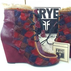 NWT $898 Frye Wine Parker Patch Wedge Boot Sz 8
